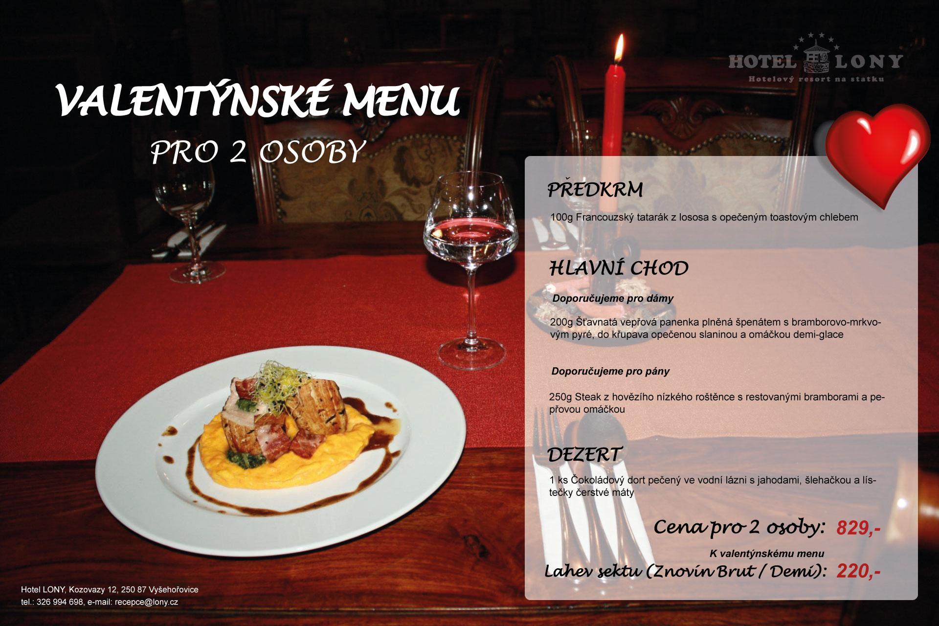 Valentýnské menu v hotelu LONY